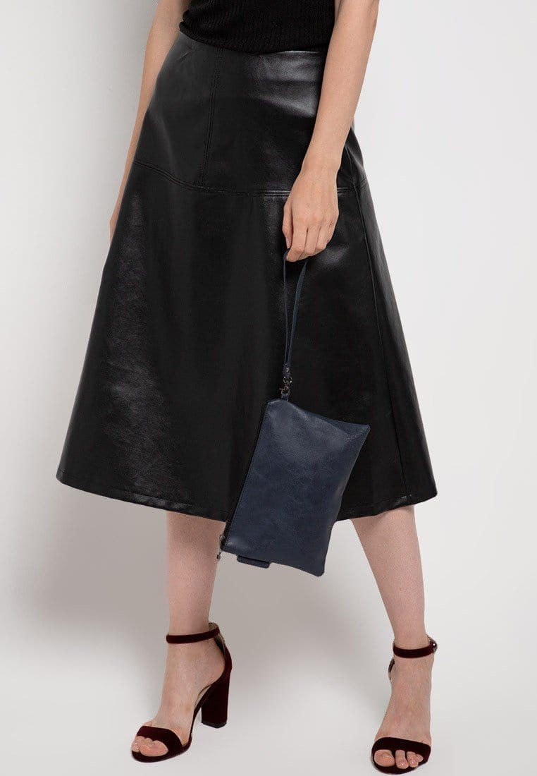 Distressed Leather Pouch Clutch - Navy Clutch - Urban State Indonesia