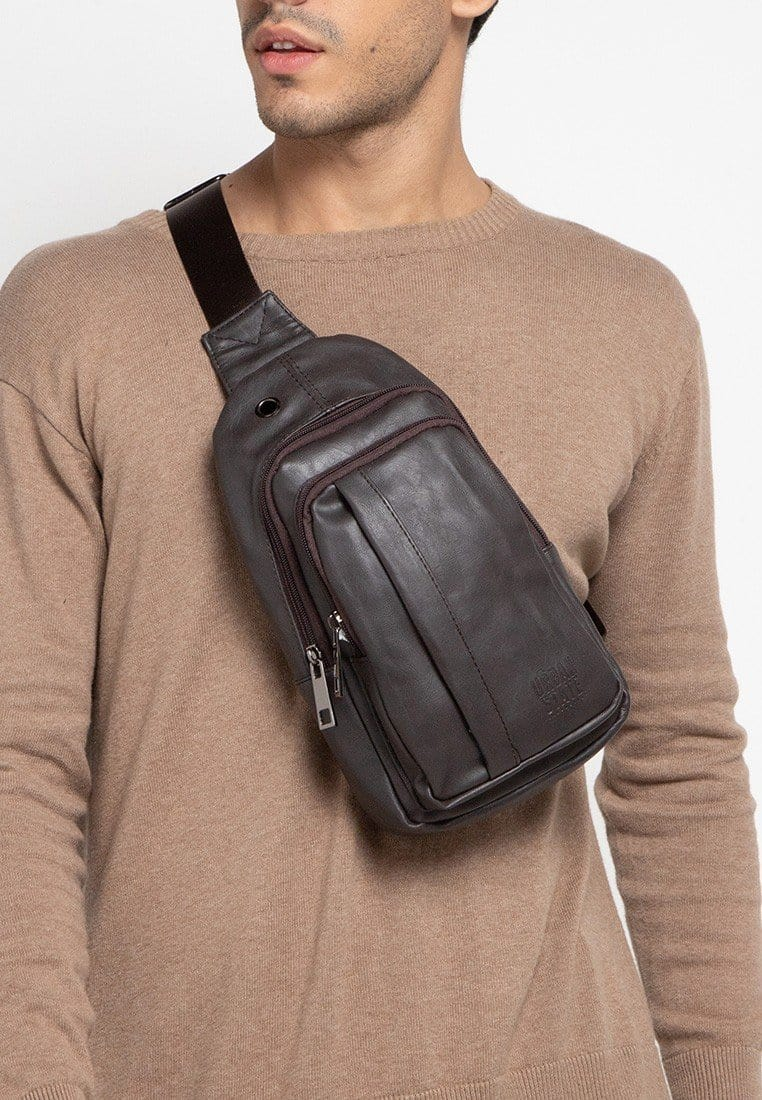 Distressed Leather  Pocket Slingbag - Brown Slingbags - Urban State Indonesia