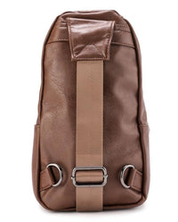 Distressed Leather  Pocket Slingbag - Camel