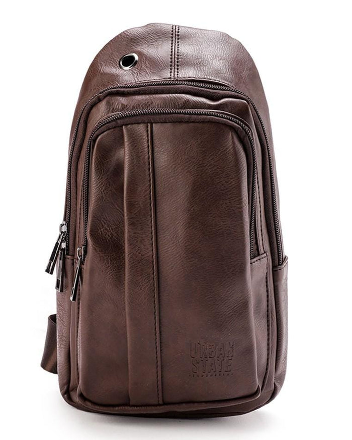 Distressed Leather  Pocket Slingbag - Dark Brown