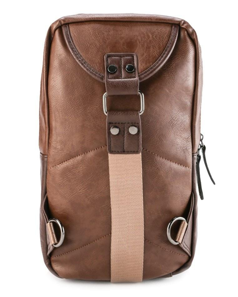 Pu Buckled Zipper Slingbag - Camel Dark Brown