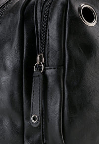 Pu Zipper Ring Contrast Slingbag - Black