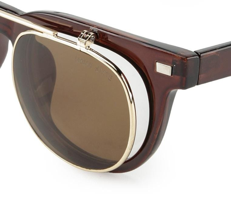 Clip On Double Lens Square Steampunk Sunglasses - Brown Brown Sunglasses - Urban State Indonesia