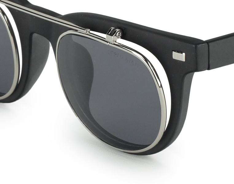 Clip On Double Lens Square Steampunk Sunglasses - Black Glossy Sunglasses - Urban State Indonesia