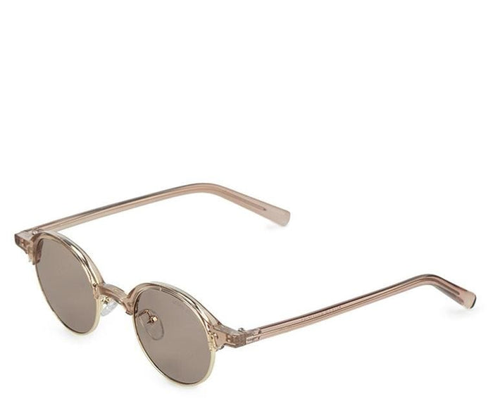 Retro Half Frame Sunglasses - Brown Brown