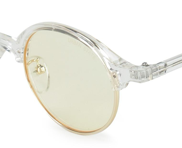 Retro Half Frame Sunglasses - Yellow Clear