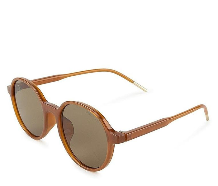 Retro Fashion Round Sunglasses - Brown Brown
