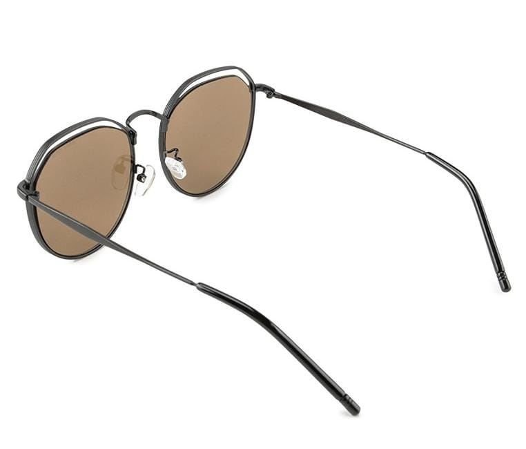 Metal Frame Retro Sunglasses - Brown Black Sunglasses - Urban State Indonesia