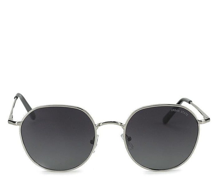 Polarized Retro Round Sunglasses - Black Silver