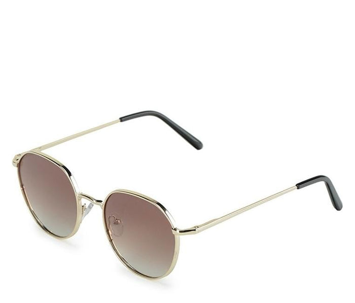 Polarized Retro Round Sunglasses - Brown Gold