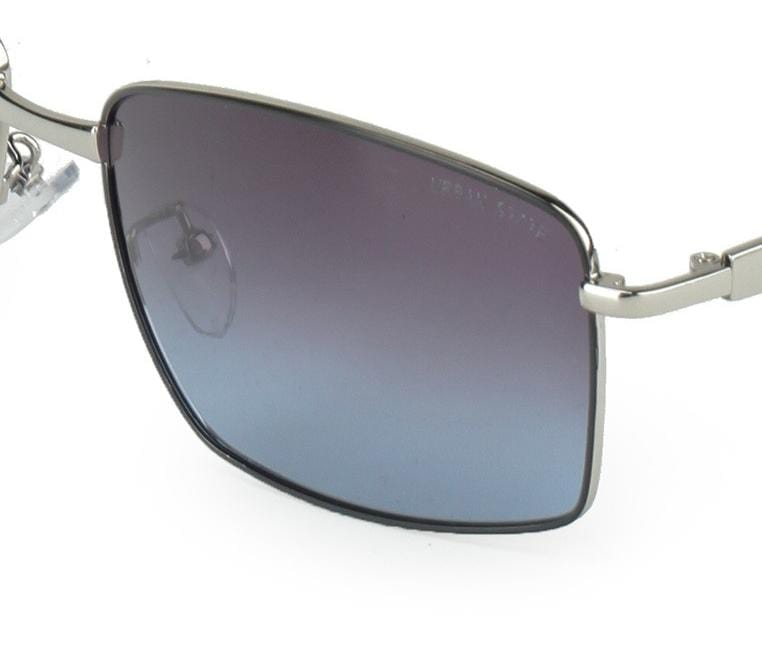 Polarized Slim Curved Sunglasses - Blue-Silver