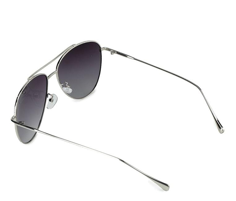 Polarized Slim Aviator Sunglasses - Black Silver
