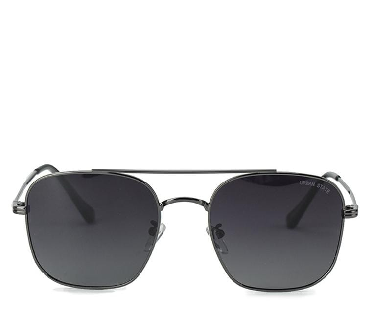 Polarized Oversized Rectangular Aviator Sunglasses - Black Silver