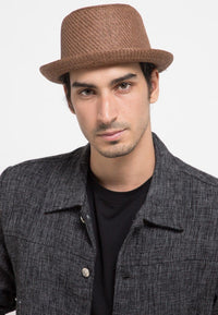 Belted Short Brim Round Hat - Brown Fedora Hat - Urban State Indonesia