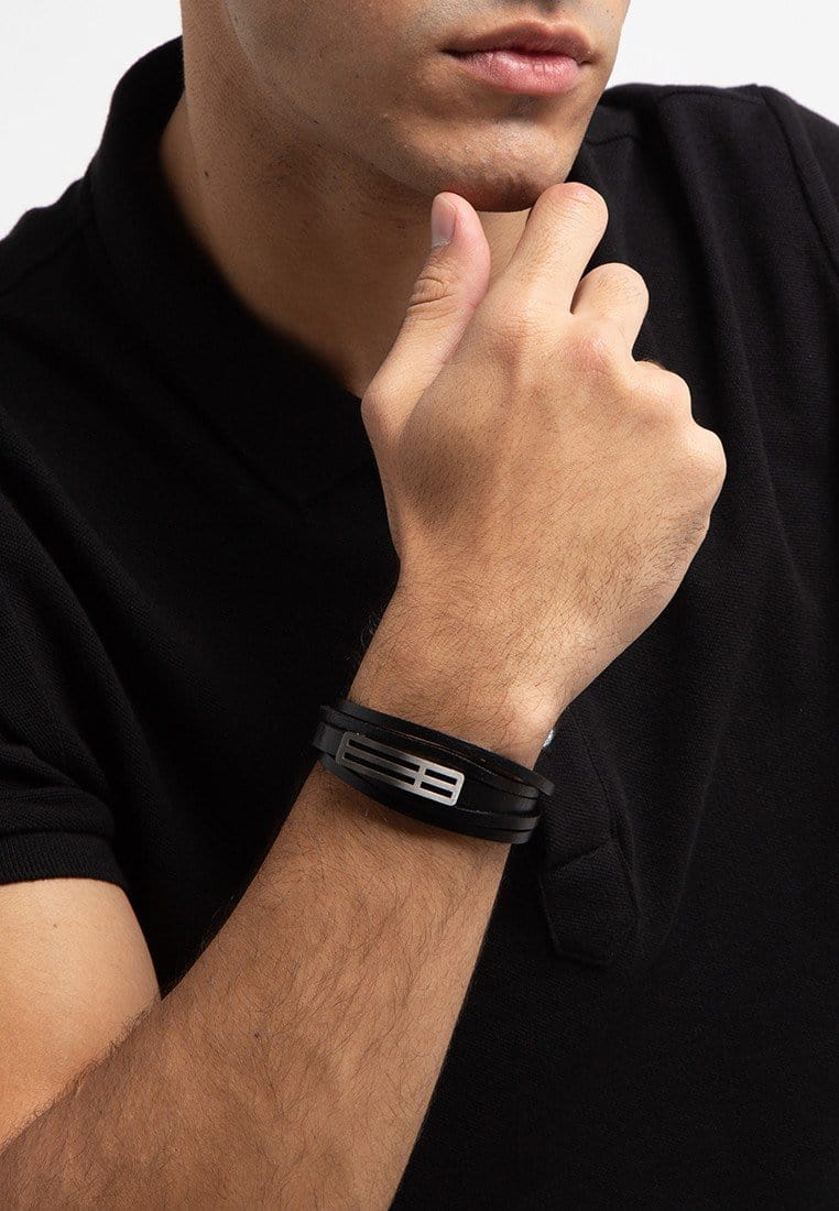 Multi-Layer Striped Plate Leather Bracelet - Black Bracelets - Urban State Indonesia