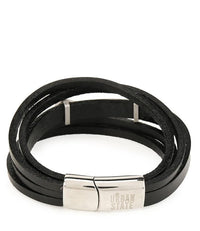 Multi-Layer Hexa Plate Leather Bracelet - Black Bracelets - Urban State Indonesia