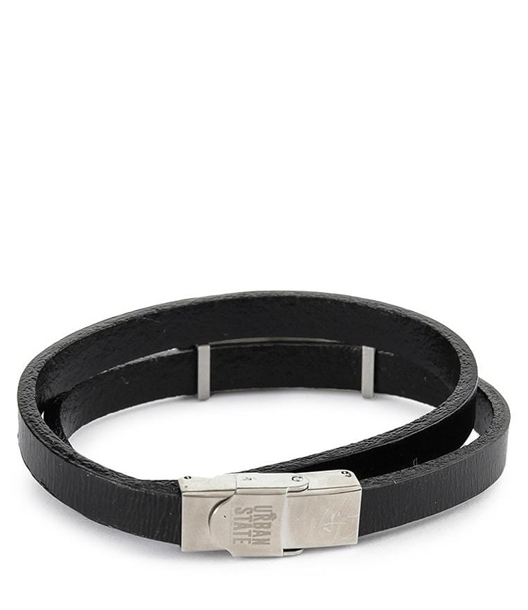 Double-Loop Operations Plate Leather Bracelet - Silver Bracelets - Urban State Indonesia