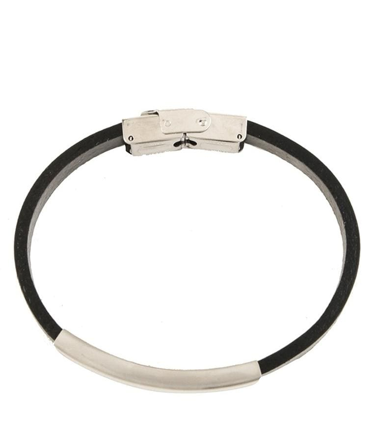 Metal Plate Leather Bracelet - Silver Bracelets - Urban State Indonesia