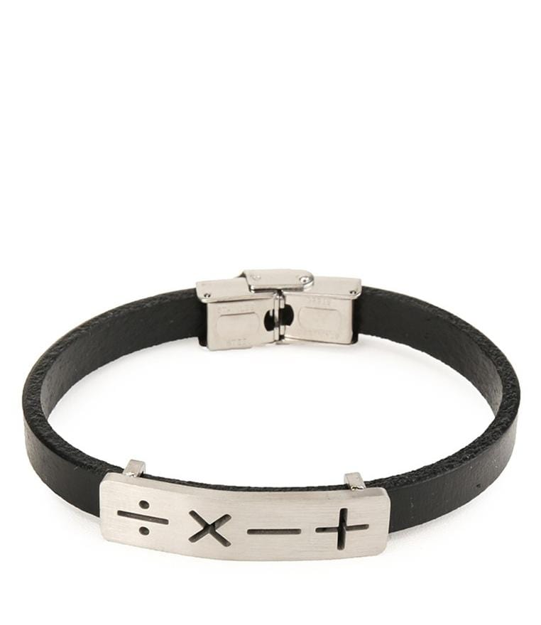 Operations Plate Leather Bracelet - Silver Bracelets - Urban State Indonesia