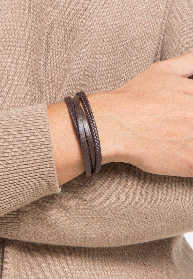 Double-Loop Braided Leather Bracelet - Brown Bracelets - Urban State Indonesia