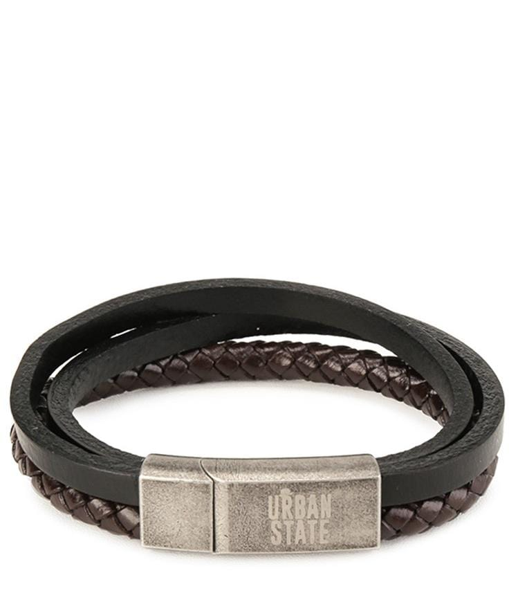 Tri-Layer Woven Leather Bracelet - Black Bracelets - Urban State Indonesia