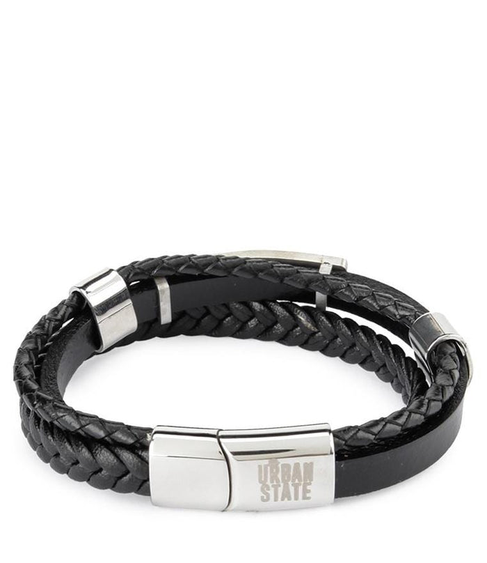 Tri-Layer Operations Plate Leather Bracelet - Black