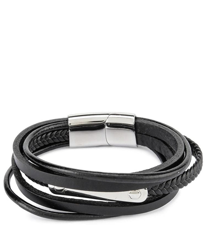 Tri-Layer Bolt Plate Leather Bracelet - Black