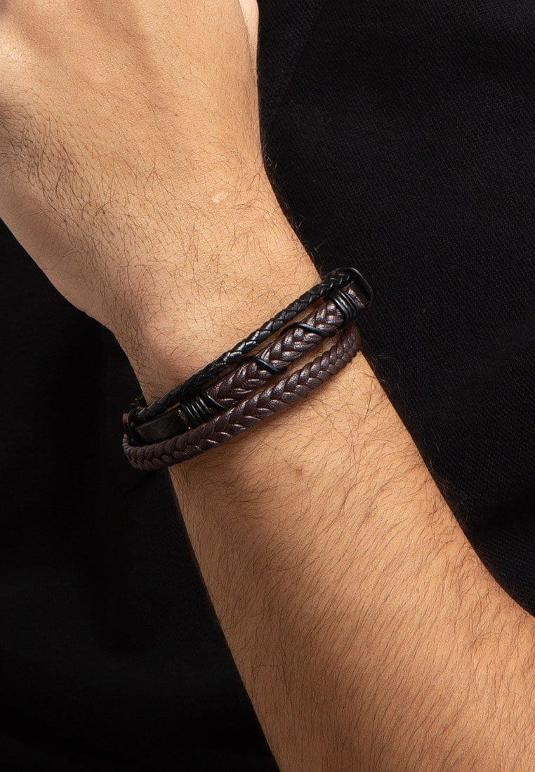 Tri-Layer Braided Wire Leather Bracelet - Brown Bracelets - Urban State Indonesia
