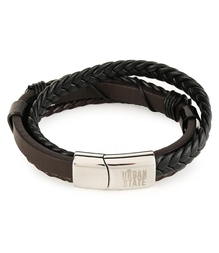 Tri-Layer Braided Wire Leather Bracelet - Black