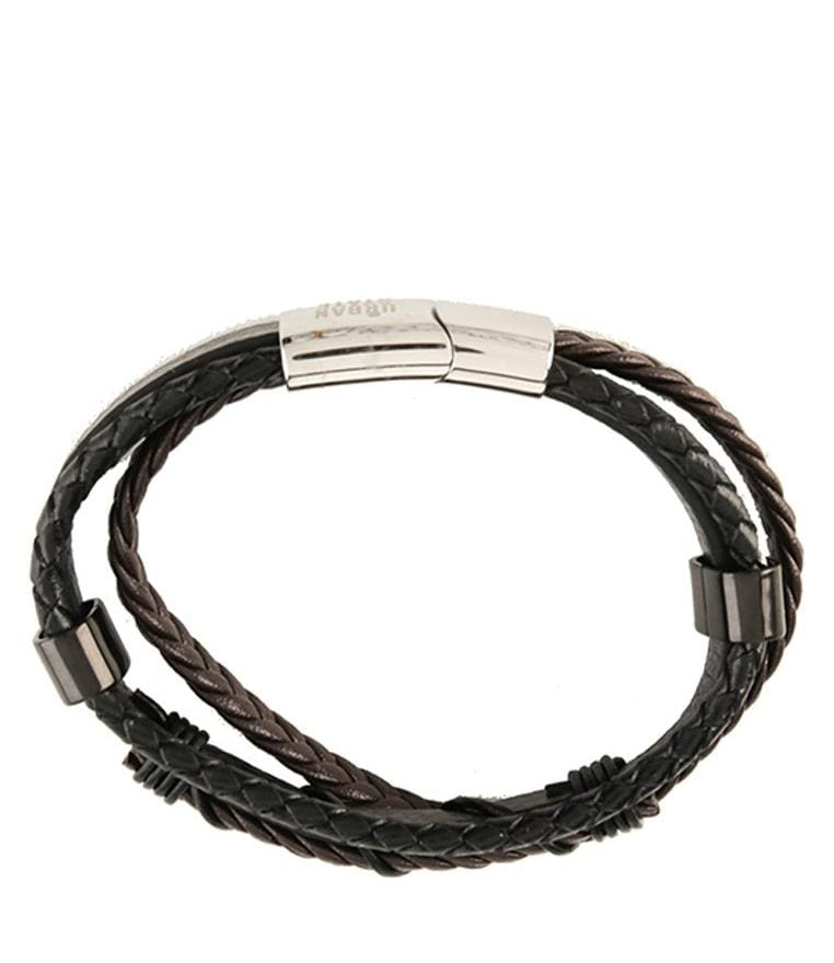 Tri-Layer Braided Wire Leather Bracelet - Brown