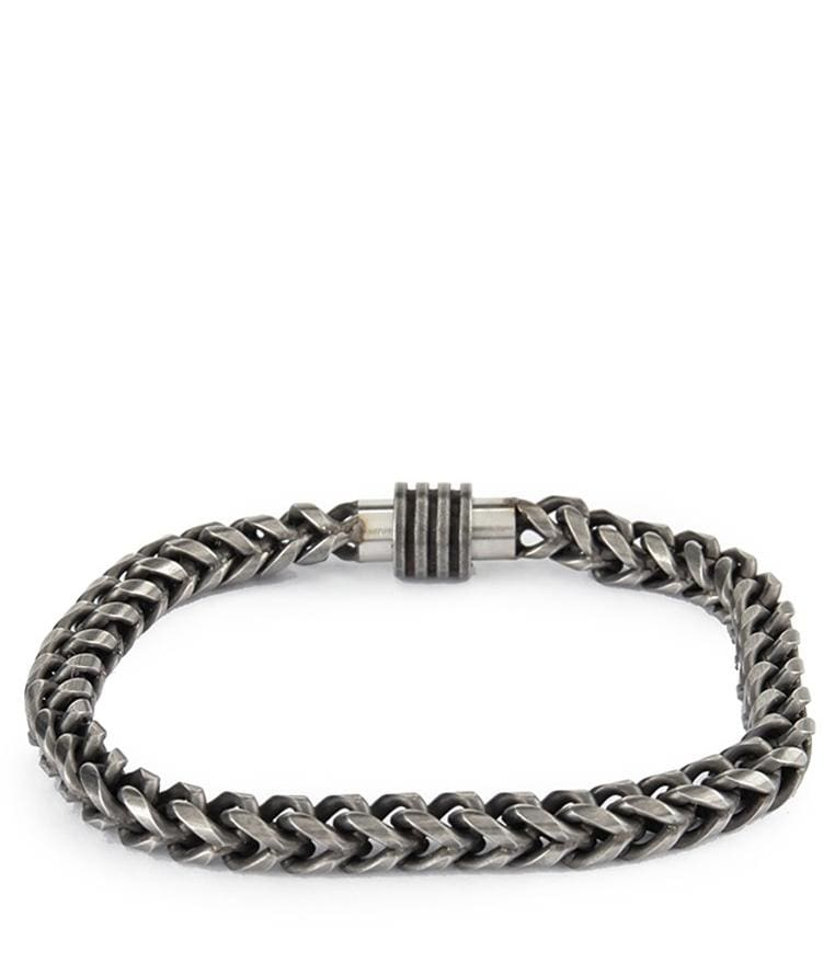 Flat Stainless Steel Men Bracelet - Dark Silver Bracelets - Urban State Indonesia