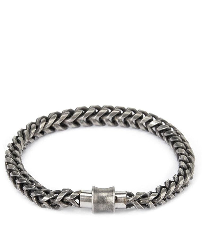 Round Stainless Steel Men Bracelet - Dark Silver