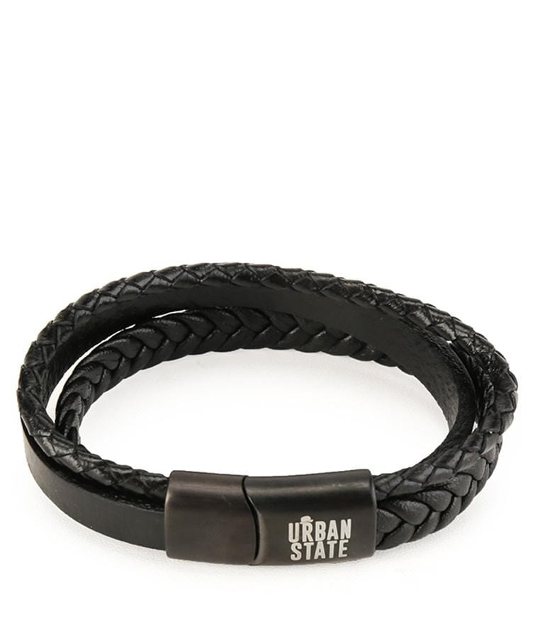 Tri-Layer Braid Woven Leather Bracelet - Black