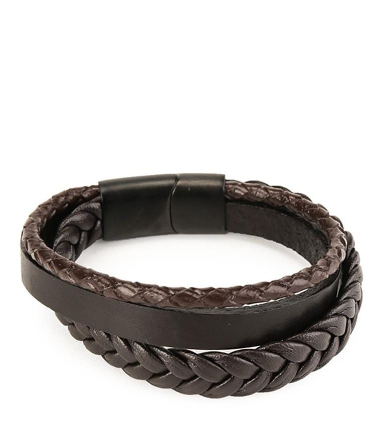 Tri-Layer Braid Woven Leather Bracelet - Brown Bracelets - Urban State Indonesia