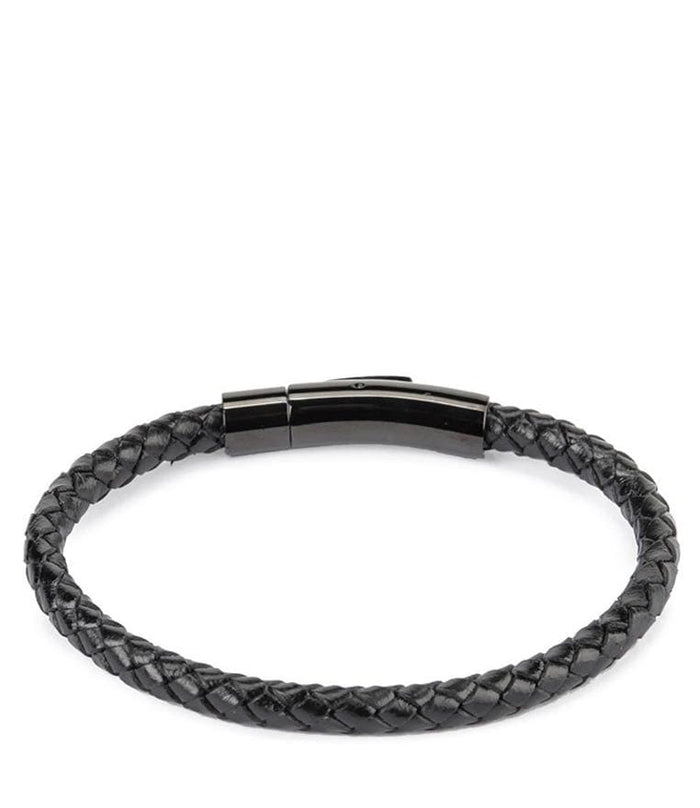 Single Braided Leather Bracelet - Black