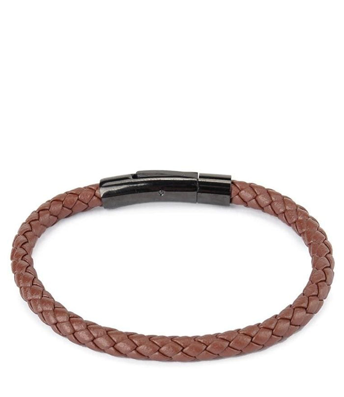 Single Braided Leather Bracelet - Brown