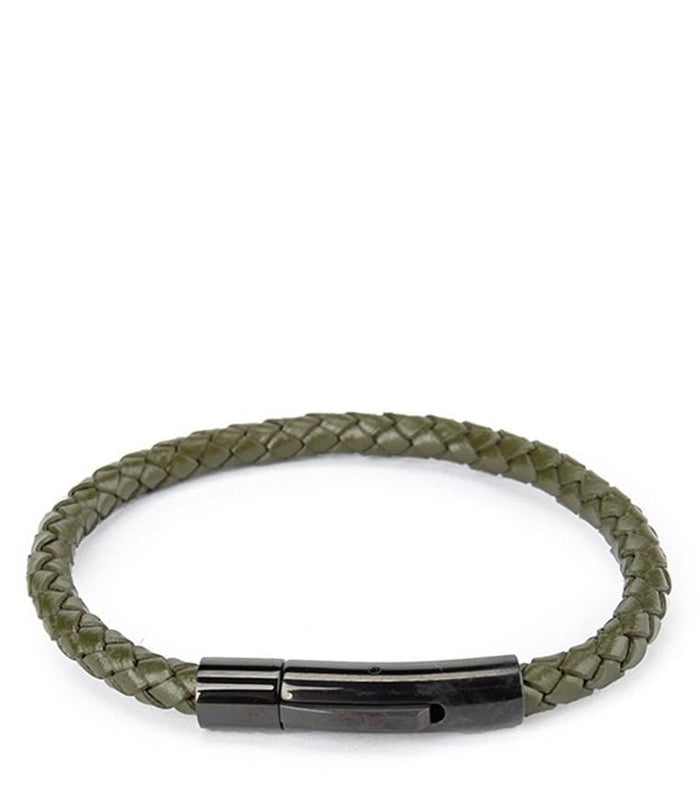 Single Braided Leather Bracelet - Green