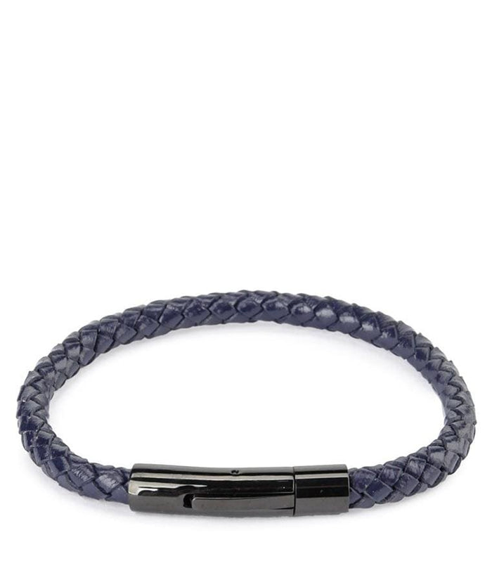 Single Braided Leather Bracelet - Navy