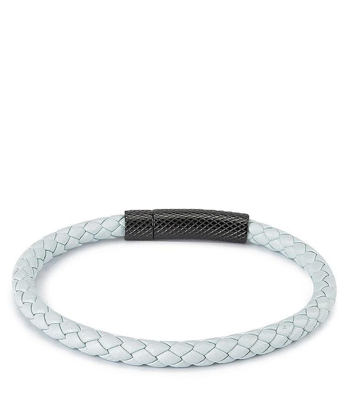 Single Braided Leather Bracelet - White