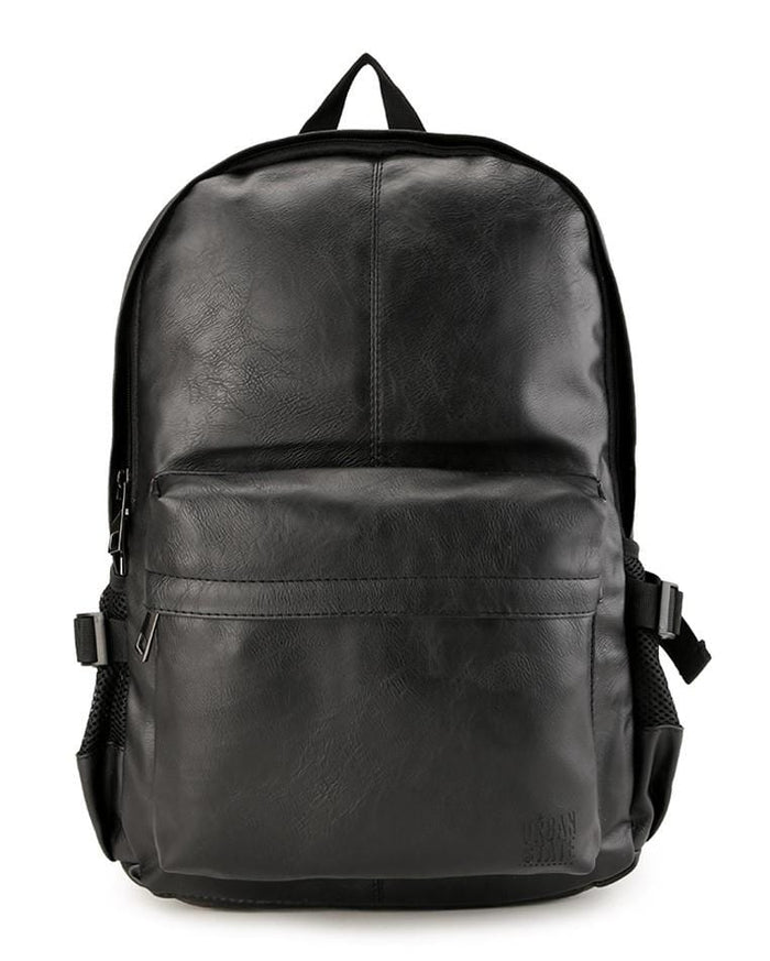 Distressed Leather Mesh Backpack - Black Backpacks - Urban State Indonesia