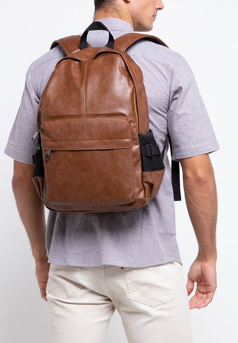 Distressed Leather Mesh Backpack - Camel