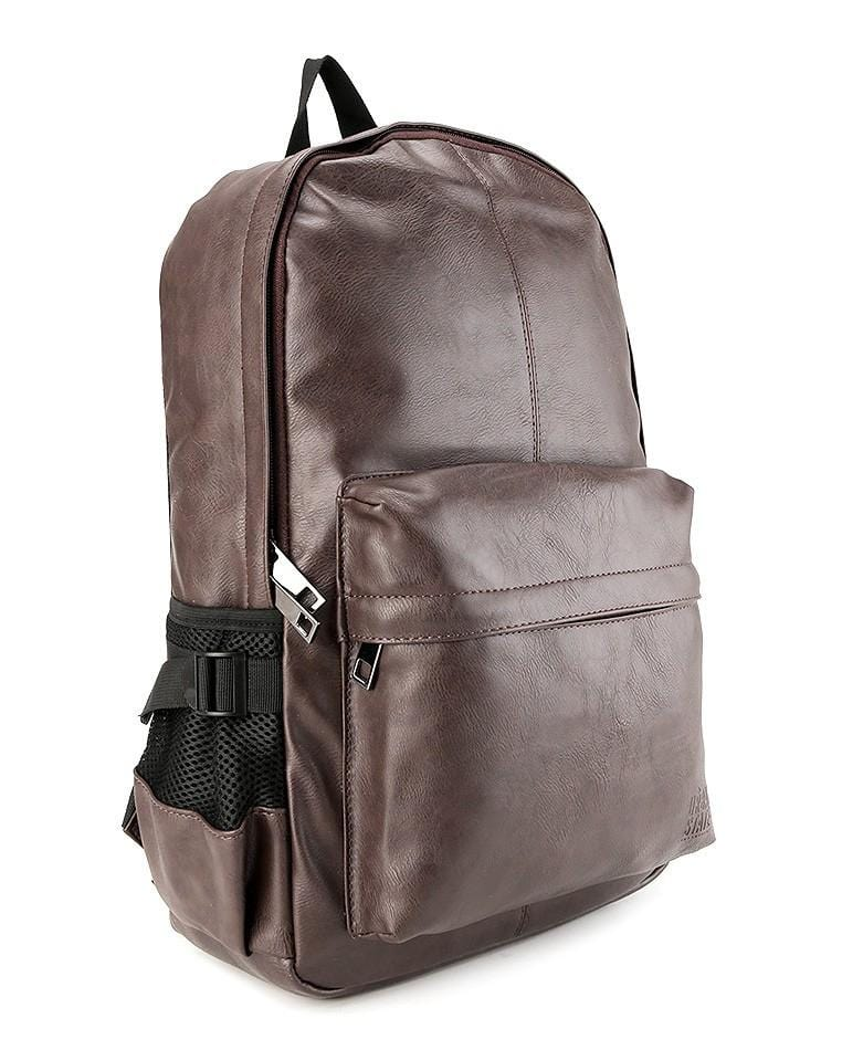 Distressed Leather Mesh Backpack - Dark Brown Backpacks - Urban State Indonesia