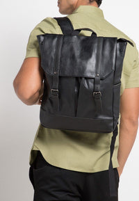 Distressed Leather Nomad Backpack - Black Backpacks - Urban State Indonesia