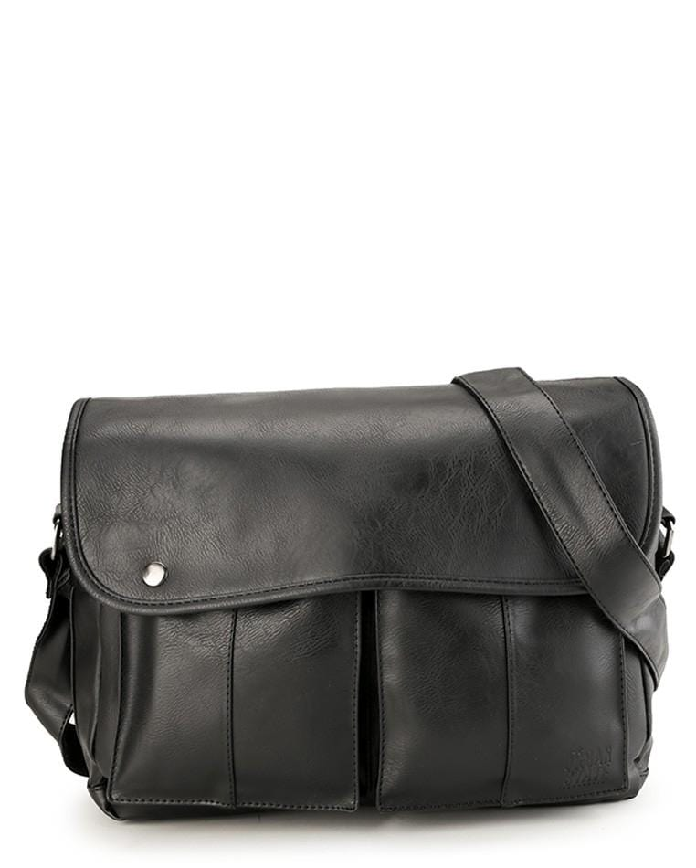 Distressed Leather Flight Messenger Bag - Black Messenger Bags - Urban State Indonesia