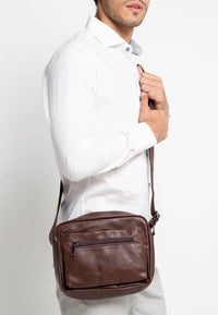 Distressed Leather Flight Crossbody Bag - Dark Brown Messenger Bags - Urban State Indonesia