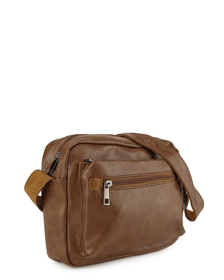 Distressed Leather Flight Crossbody Bag - Camel Messenger Bags - Urban State Indonesia