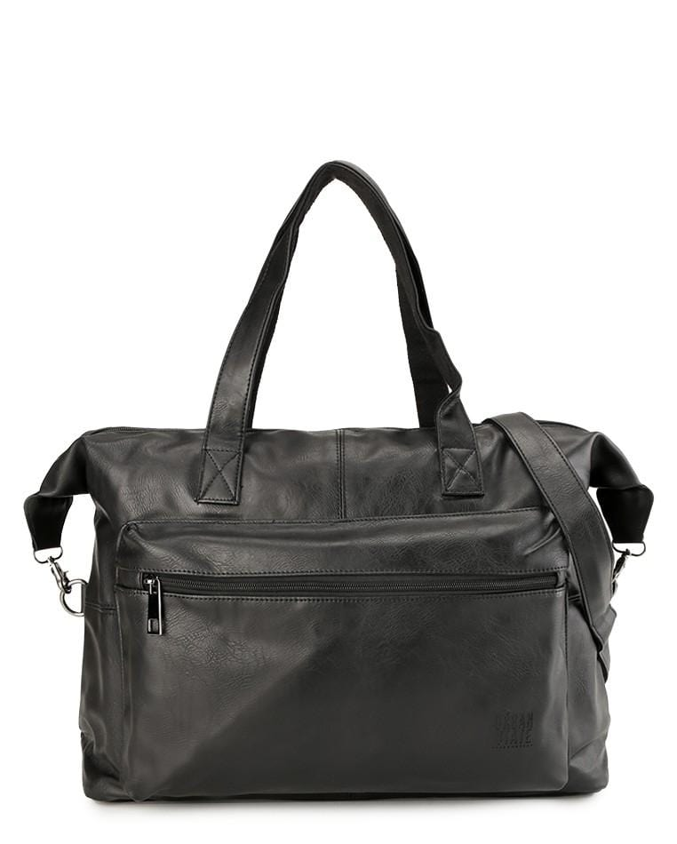 Distressed Leather Flight Duffel Bag - Black Duffel Bags - Urban State Indonesia