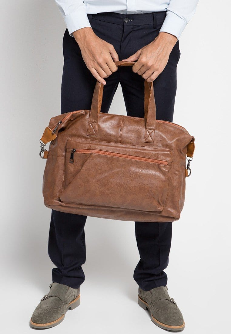 Distressed Leather Flight Duffel Bag - Camel Duffel Bags - Urban State Indonesia