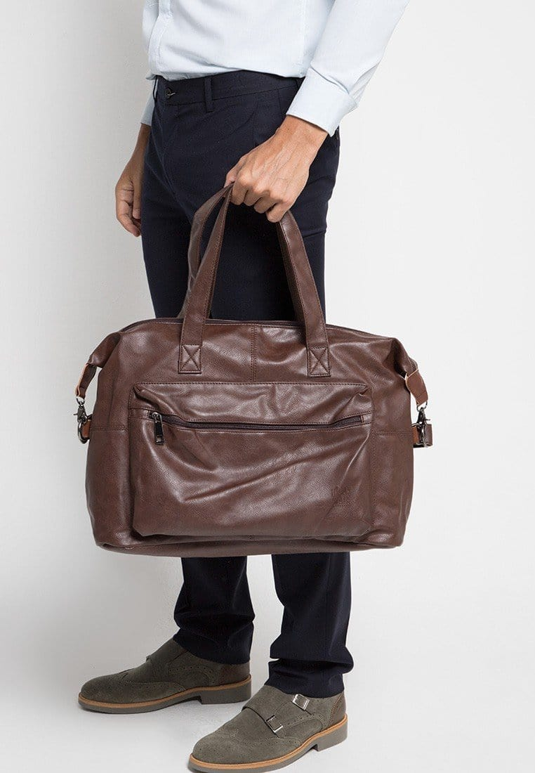 Distressed Leather Flight Duffel Bag - Dark Brown Duffel Bags - Urban State Indonesia