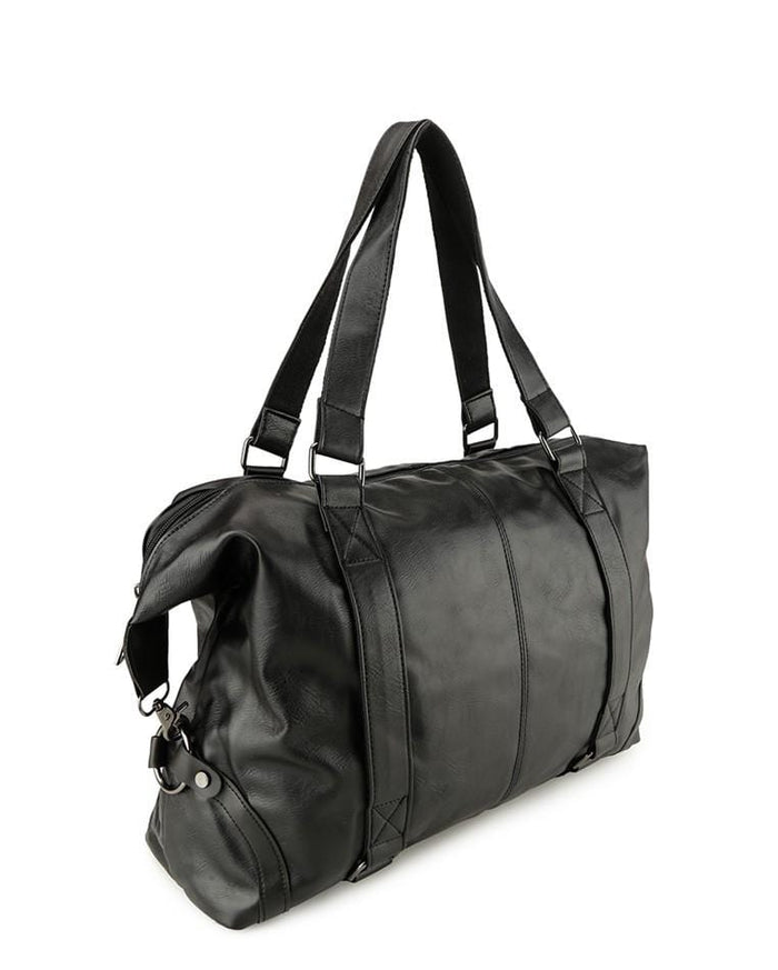 Distressed Leather Holdall Duffel Bag - Black Duffel Bags - Urban State Indonesia